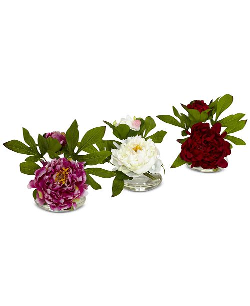 Nearly Natural 3-Pc. Peony Set with Glass Vases