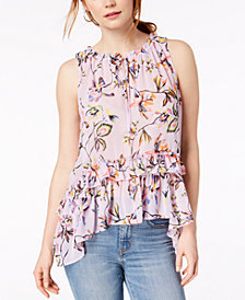 Bar III Printed Ruffled High-Low Top, Created for Macy's