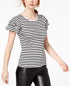 Bar III Ruffle-Sleeve Striped Top, Created for Macy's