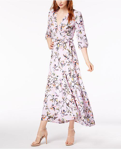 cb1f3536d9 Bar III Floral-Printed Wrap Maxi Dress