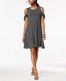 Style & Co Petite Cold-Shoulder Tie-Sleeve Dress, Created for Macy's