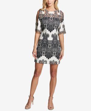 KENSIE COLD-SHOULDER LACE SHIFT DRESS