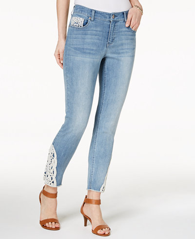 Style & Co Petite Crochet-Trim Skinny Ankle Jeans, Created for Macy's