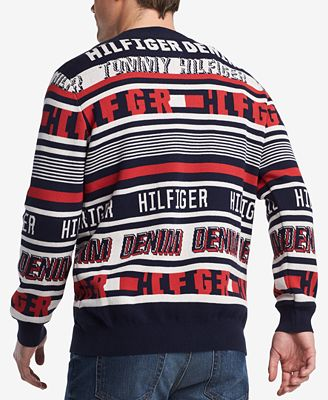 Tommy Hilfiger Mens Stripe Logo Sweater Created For Macys
