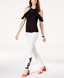 I.N.C. Cold-Shoulder Top & Embroidered Skinny Jeans, Created for Macy's