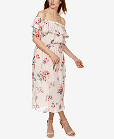 Lucky Brand Off-The-Shoulder Flounce Midi Dress