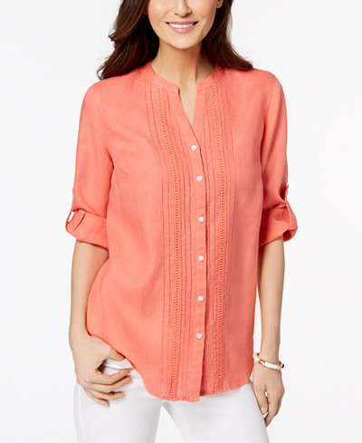 Charter Club Linen Pleated Utility Shirt, Created for Macy's