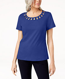 Karen Scott Petite Cotton Lattice-Neck Hardware Top, Created for Macy's