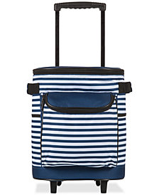Picnic Time Navy & White Striped Cooler on Wheels