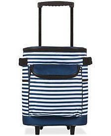 Oniva™ by Picnic Time Navy & White Striped Cooler on Wheels