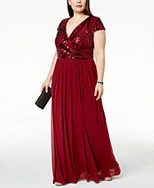 Betsy & Adam Plus Size Embellished Surplice Ruched Gown
