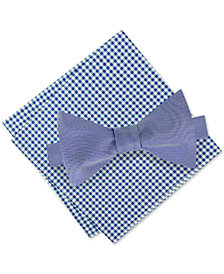 Tommy Hilfiger Men's Lederhosen Chic To-Tie Silk Bow Tie & Gingham Silk Pocket Square Set