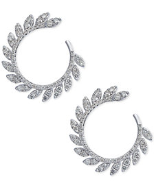 Diamond Feathered Circle Drop Earrings (7/8 ct. t.w.) in 14k White Gold