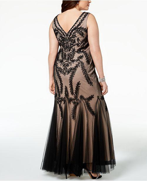 50c5ab01056d3 Betsy   Adam Plus Size Soutache Godet Gown   Reviews - Dresses ...