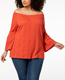 Style & Co Plus Size Cotton Eyelet Off-The-Shoulder Bell-Sleeve Top, Created for Macy's