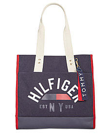 Tommy Hilfiger Carmel Logo Canvas North/South Tote