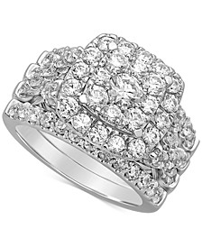 Diamond Cluster Bridal Set (3 ct. t.w.) in 14k White Gold