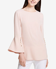 Calvin Klein Button-Detail Bell-Sleeve Top