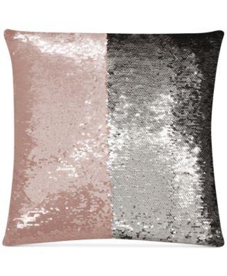 "Mermaid Colorblocked Blush & Silver Sequin 18"" Square Decorative Pillow"
