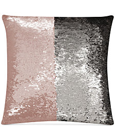 "Hallmart Collectibles Mermaid Colorblocked Blush & Silver Sequin 18"" Square Decorative Pillow"