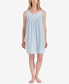 Eileen West Cotton Lace-Trim Short Nightgown