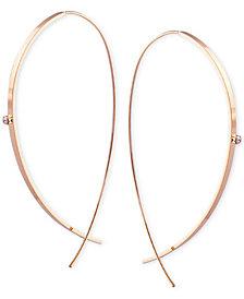 GUESS Crystal Elongated Hoop Threader Earrings