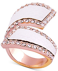 GUESS Rose Gold-Tone Pavé & Faux Python Leather Bypass Ring