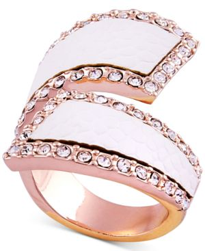 ROSE GOLD-TONE PAVE & FAUX PYTHON LEATHER BYPASS RING
