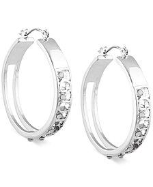 GUESS Crystal Logo Hoop Earrings