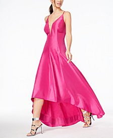Calvin Klein Taffeta Plunge High-Low Gown