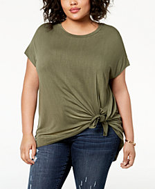 Soprano Trendy Plus Size Tie-Hem Top