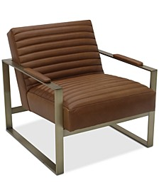 Elmie Leather & Brass Accent Chair, Created for Macy's