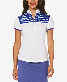 PGA TOUR Floral Striped Mock-Neck Top
