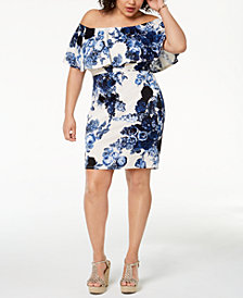 Soprano Trendy Plus Size Printed Off-The-Shoulder Dress