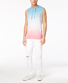 American Rag Men's Double-Dye Colorblocked Hooded Tank & Classic-Fit White Destroyed Jeans, Created for Macy's