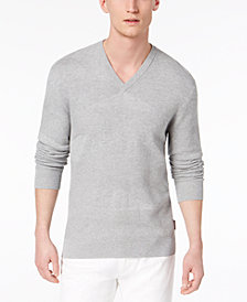 A|X Armani Exchange Men's Texture Blocked V-Neck Sweater