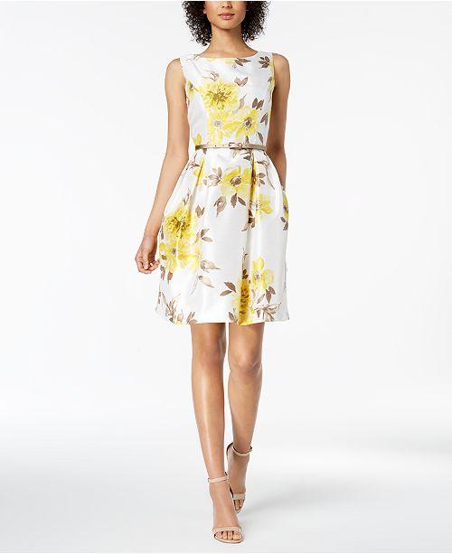 9236d74514e Jessica Howard Petite Belted Floral-Print Dress   Shrug Cardigan ...