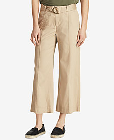 Lauren Ralph Lauren Twill Cropped Wide-Leg Pants