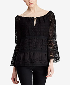 Lauren Ralph Lauren Eyelet Lace Cotton Top