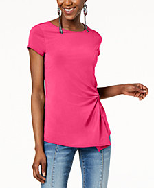 I.N.C. Petite Asymmetrical-Twist Top, Created for Macy's