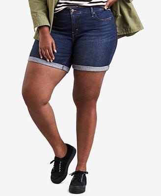 Plus Size Cotton Roll Cuff Denim Shorts by Levi's