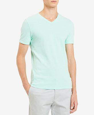 Calvin Klein Men's Textured Stripe V-Neck T-Shirt