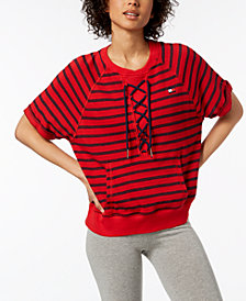 Tommy Hilfiger Sport Lace-Up Top, Created for Macy's