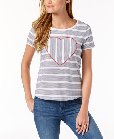 Tommy Hilfiger Heart Embellishment T-Shirt, Created for Macy's