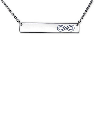 """Infinity Bar Pendant Necklace In Sterling Silver, 16""""+2"""" by Unwritten"""