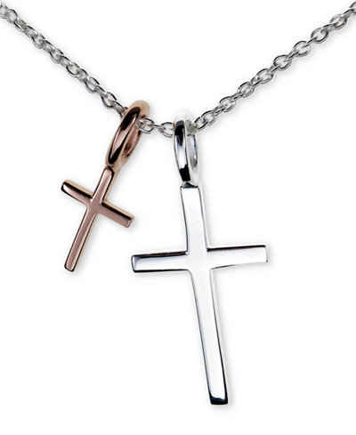 Unwritten Two Cross Pendant Necklace in Sterling Silver & Rose Gold-Flash, 16