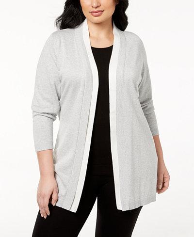 Calvin Klein Plus Size Contrast-Trim Open-Front Cardigan