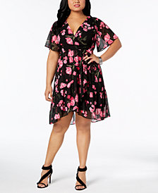 I.N.C. Plus Size Printed Wrap Dress, Created for Macy's