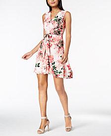 Calvin Klein Petite Floral Printed Tie-Waist Dress