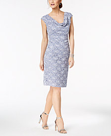 Connected Cowl-Neck Sequined Lace Sheath Dress
